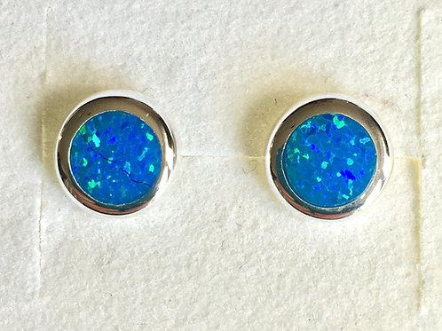 Circular Blue Opalite Stud Earrings
