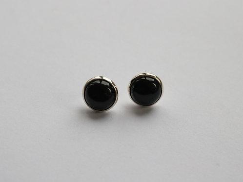 Rimmed Black Agate Circular Stud Earrings