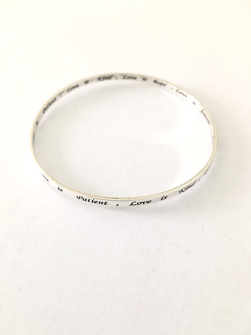 Love is Patient Engraved Stacker Bangle