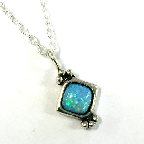 Tiny Blue Opalite Square Pendant