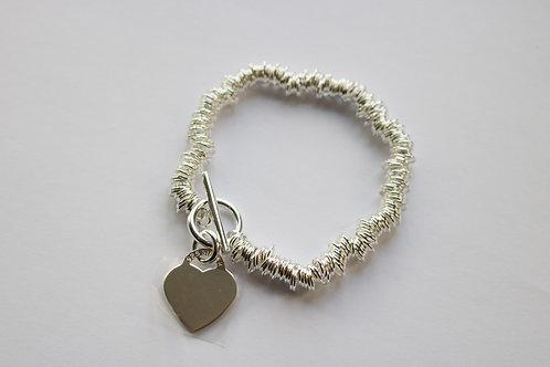 Multi Ring Heart Charm T Bar Bracelet