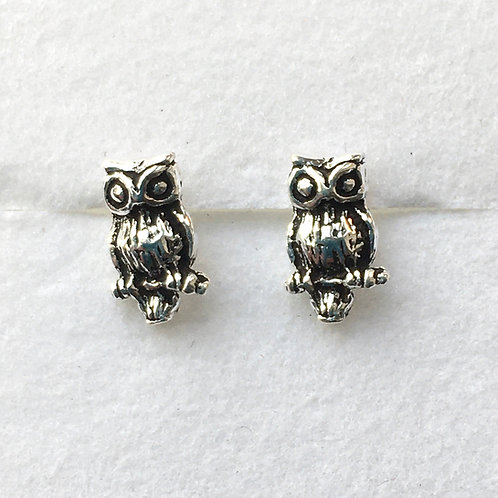 Oxidised Owl Stud Earrings