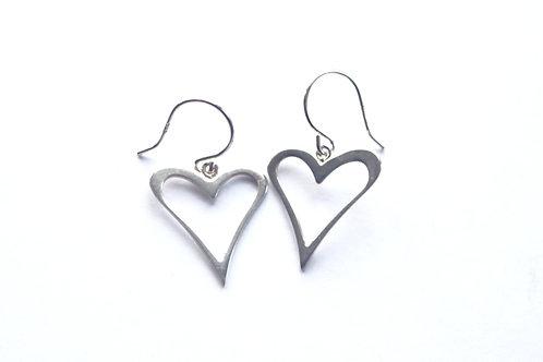 Medium Open Heart Drop Earrings