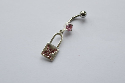 Pink CZ Padlock Dangly Belly Bar