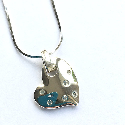 Solid Heart with Inset CZ's Pendant