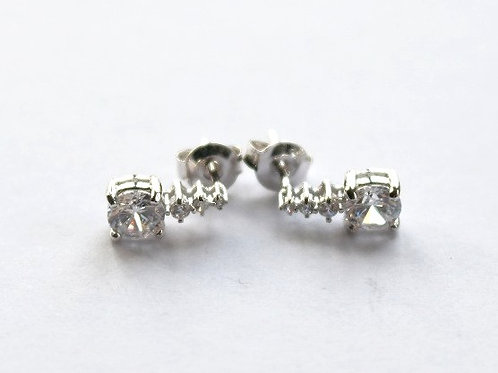 Clear Square CZ Under a Line of CZ's Stud Earrings