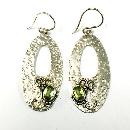 Oval Art Nouveau Style Peridot Drop Earrings