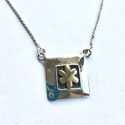 Hammered Square Necklace with brass  flower detail