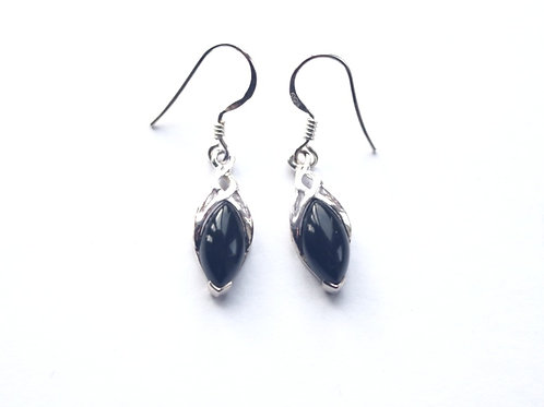 Black Onyx Marquis Shape Celtic Drop Earrings