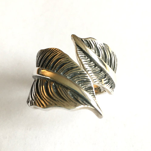 XL Size Oxidised Leaf Open Front Ring
