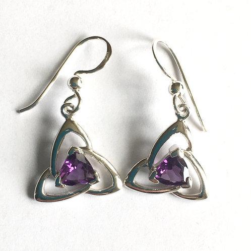 Cut Amethyst Triangular Celtic Drop Earrings