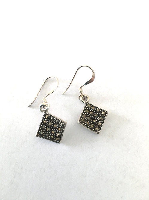 Marcasite Offset Square Drop Earrings