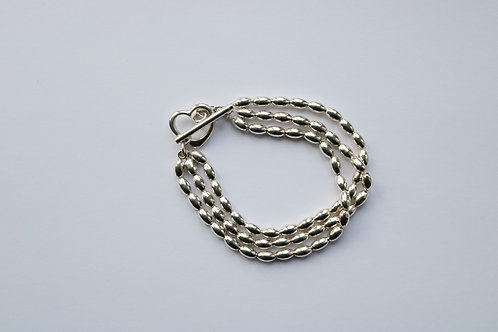 Triple Strand Multi Bead Open Heart Toggle Bracelet