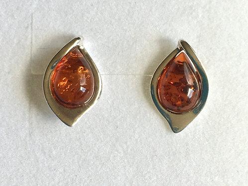 Amber Teardrop Stud Earrings