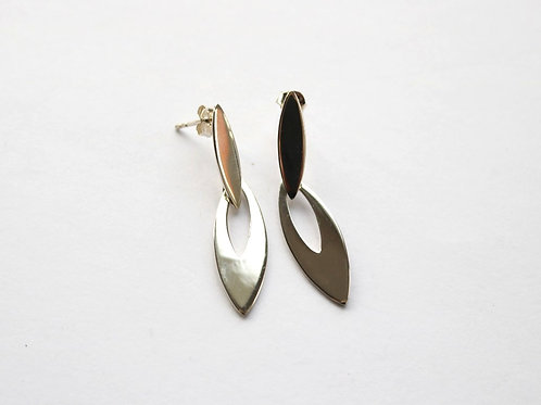 Double Hinged Marquis Post Drop Earrings