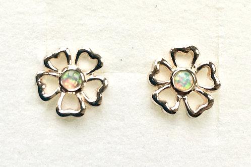White Opalite Open Flower Stud Earrings