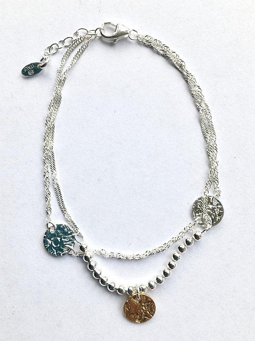 Double Strand Rose Gold Vermeil & Silver Disc Bracelet