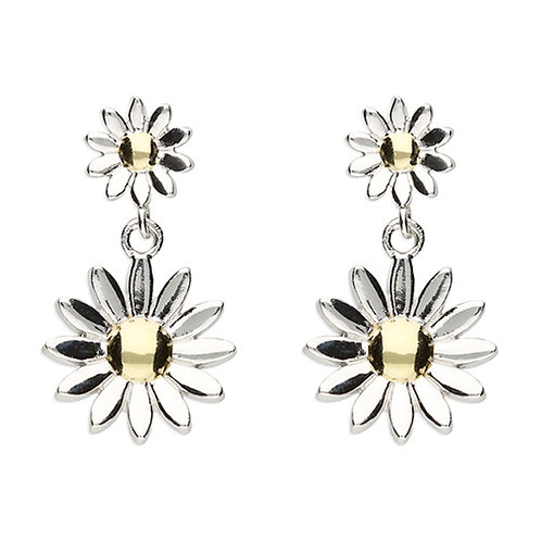 Double Daisy Post Drop Earrings