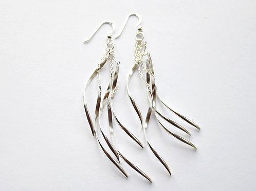 Multi Curved Bar Long Drop Earrings