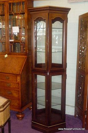 Vintage Hexagon Lighted Curio Display Cabinet $299