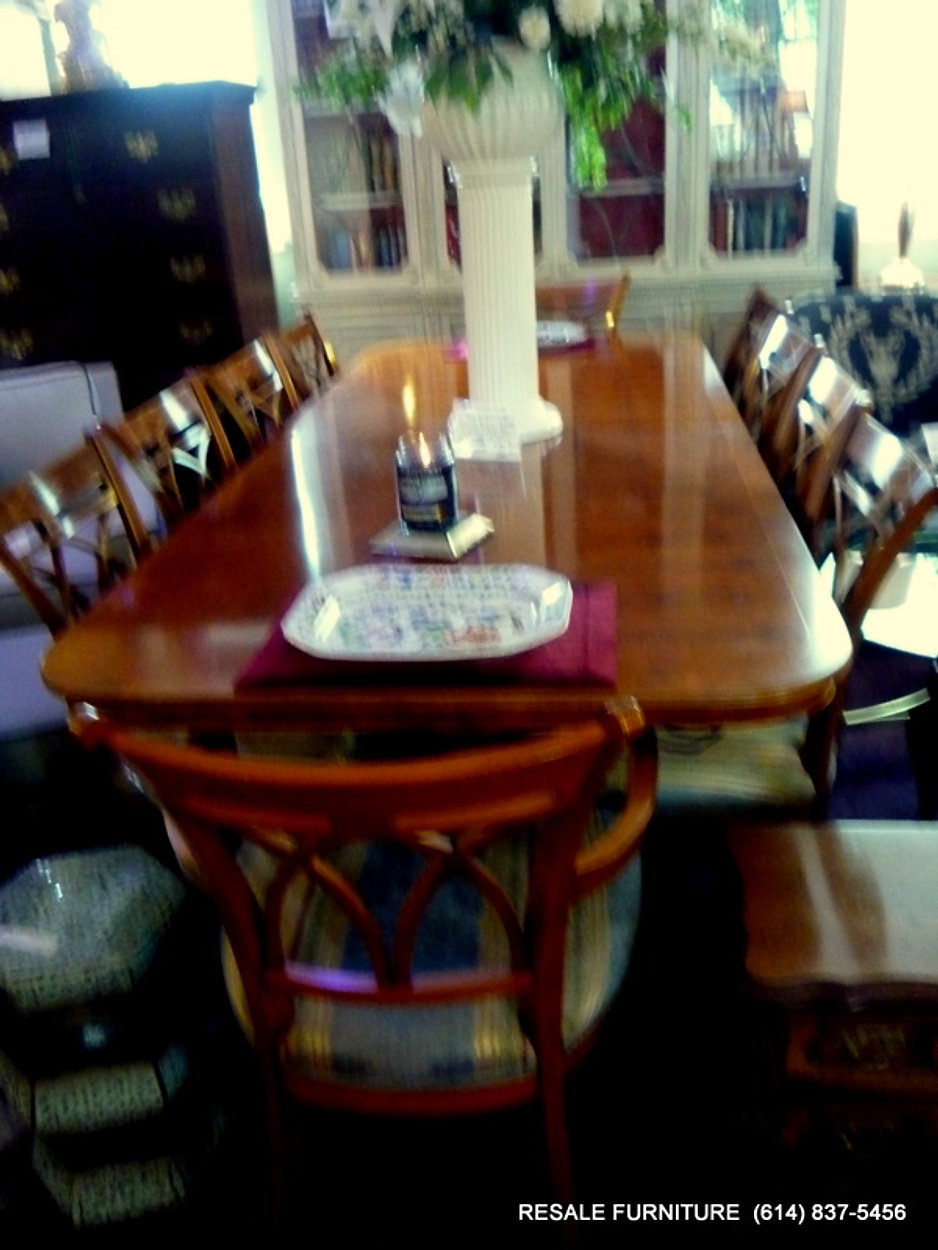John Widdicomb 10 Dining Room Chairs Yew Wood Double Pedestal Table W 3 Leaves Only 3495