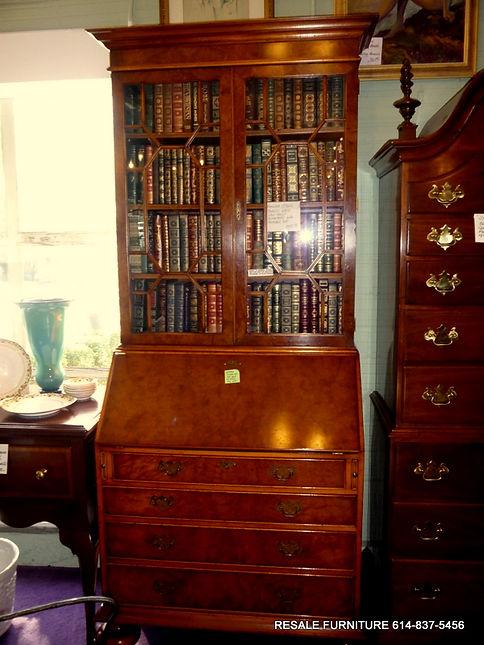 Yorkshire House Inc. English Style Burled Wood Slant Front Secretary Desk  W/ Bookcase Top $2995