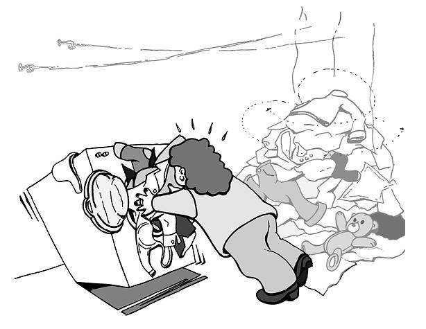 Illustration réalisée pour un propriétaire afin de rendre les locataires d'un immeuble attentifs à l'usage de la buanderie.