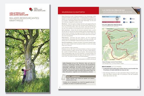 Mise en page de la brochure balades ressourçantes, customisation de cartes, illustrations et icônes.
