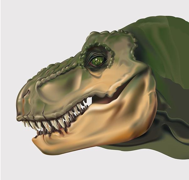 Tête de T-Rex réalisée pour un projet de mapping.