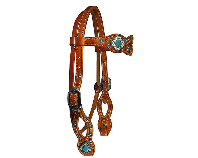 TURQUOISE & SILVER OPEN SCALLOP BROWBAND