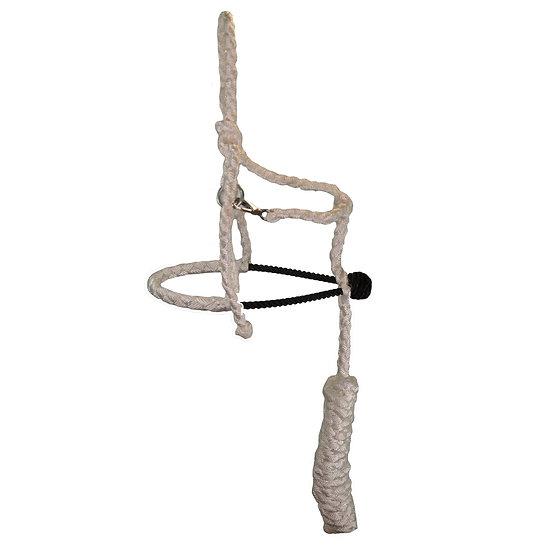 White MT w/ Black Rope Noseband Pony Halter
