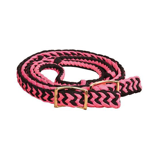 Pink/Black Braided Adjustable Pony Reins