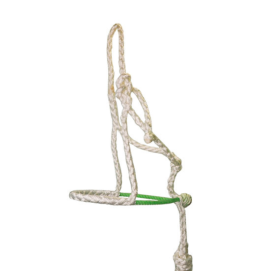 White MT w/ Lime Green Rope Noseband Pony Halter