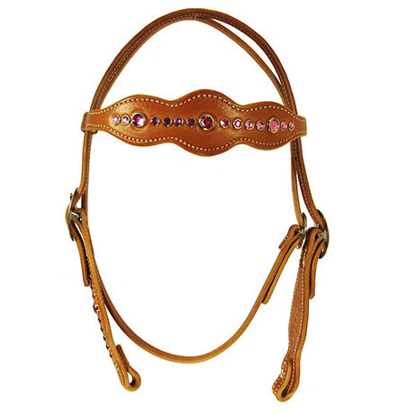 DARK PINK SMALL CRYSTAL BROWBAND HEADSTALL