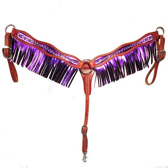 Purple Metallic Fringe & Bling Breast Collar