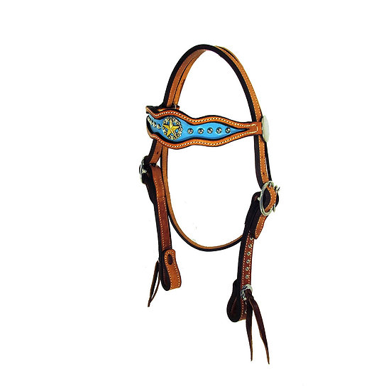 Inlaid Turquoise Browband headstall w/ Dots