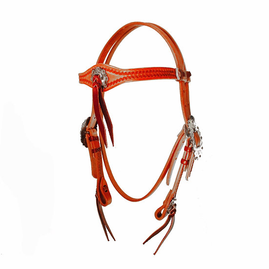BORDER TOOLED BROWBAND W/ BERRY BUCKLES & TIE STRINGS