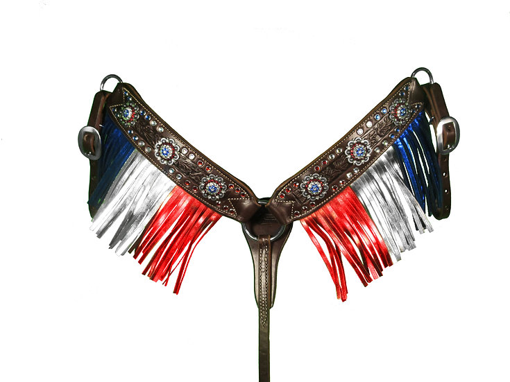 RED, WHITE & BLUE CRYSTAL & METALLIC FRINGE BREAST COLLAR