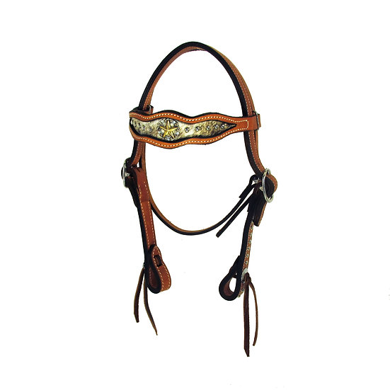Inlaid Star Concho Browband Headstall w/ dots