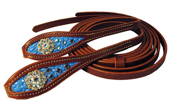 Blue Basket Weave Inlay w/ Swarovski crystal conchos Split Reins