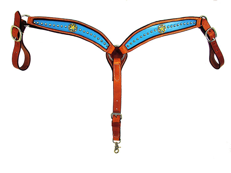 Turquoise Inlaid Star Concho Breast Collar