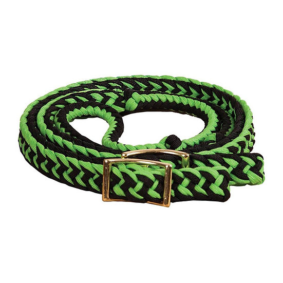 Lime Green/Black Braided Adjustable Pony Reins