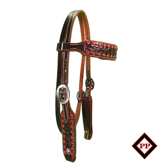 DARK OIL FLORAL TOOLED BROWBAND W/ RED BUCKSTITCH