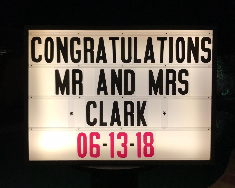 Congratulations Mr and Mrs Clark