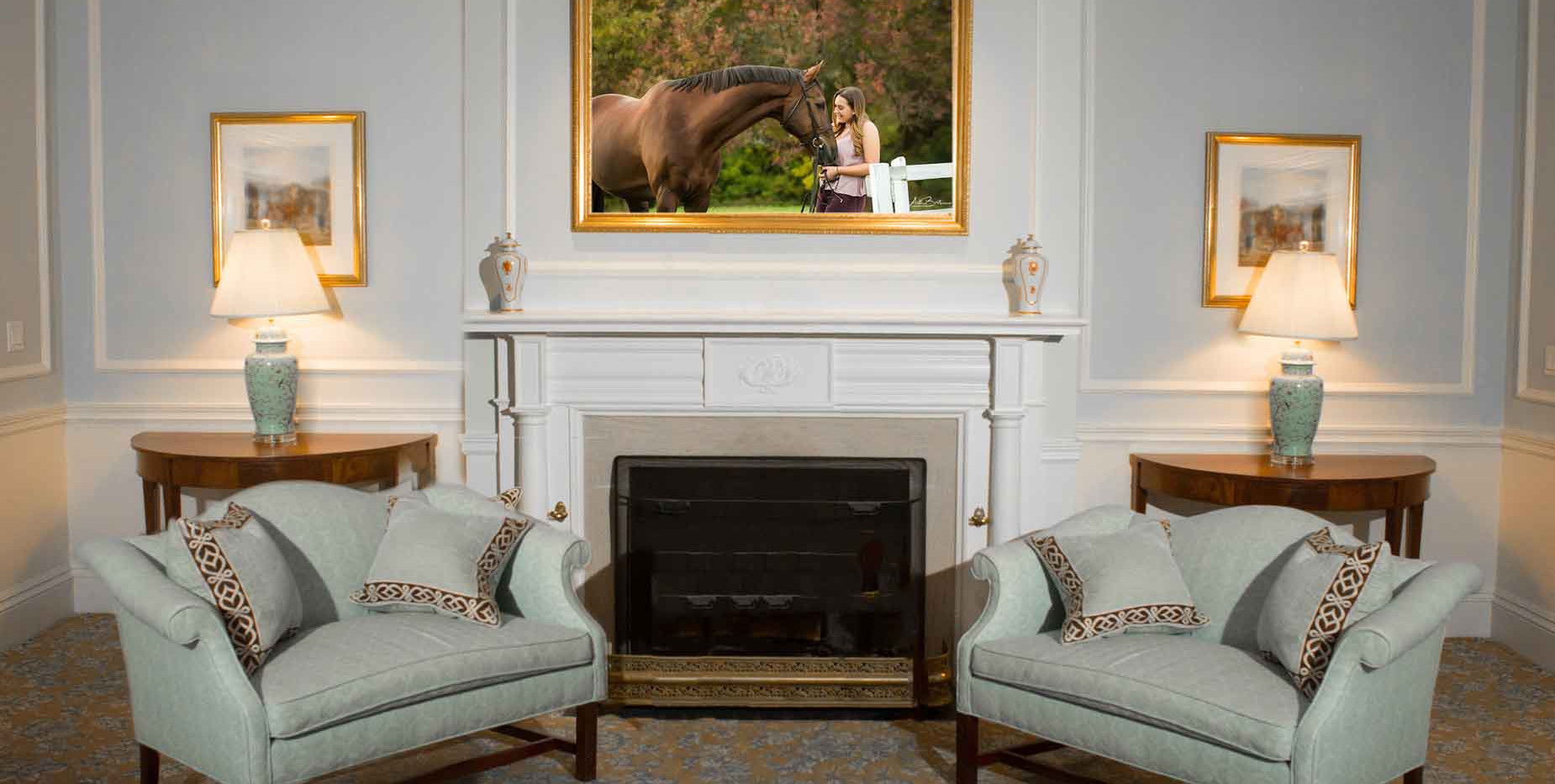 Formal living room - equestrian art
