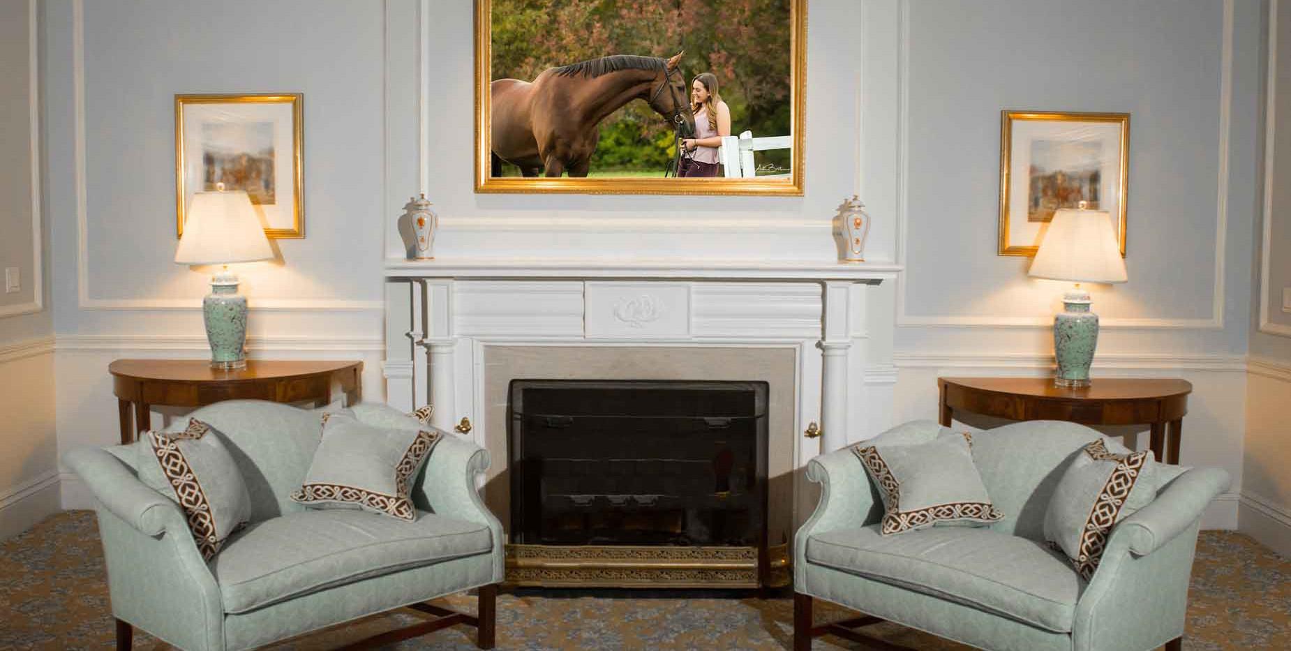 Formal living room - equestrian art
