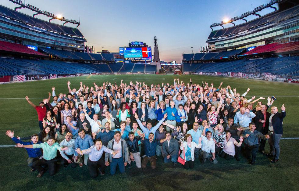 EMC group portrait on field-Gillette Stadium Field