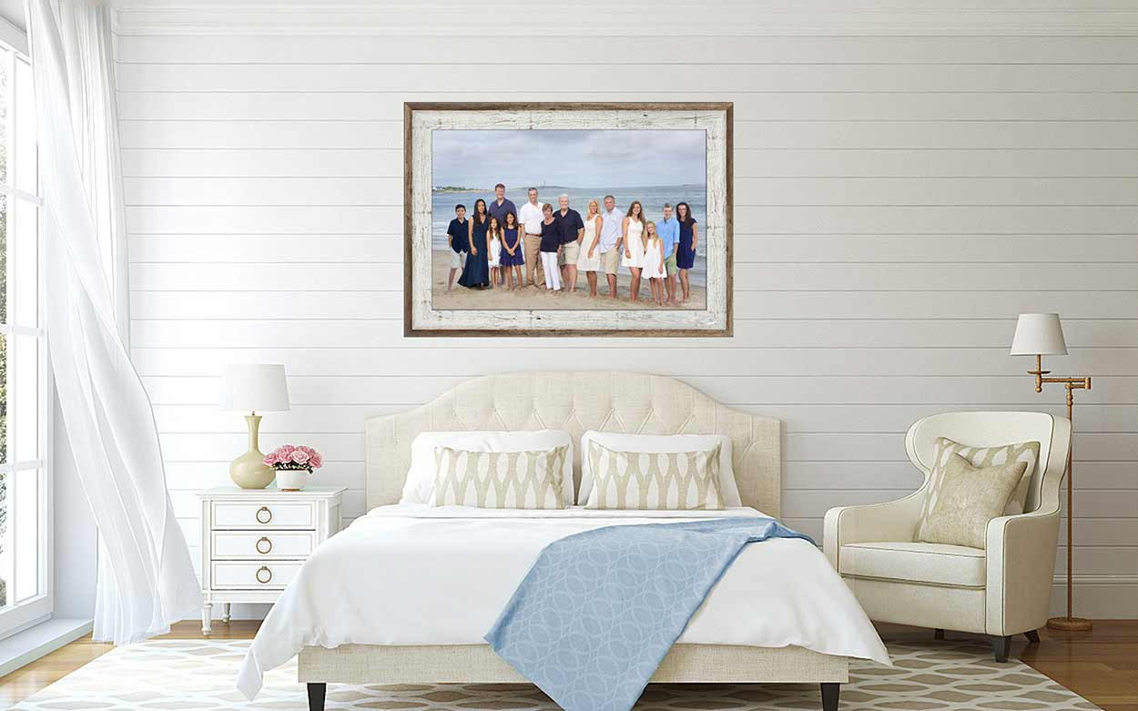 Bed room - framed beach portrait