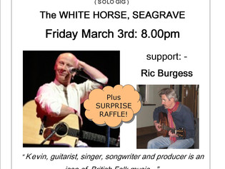 Up and Coming gig: Kevin Dempsey/Ric Burgess:- Friday March 3rd,
