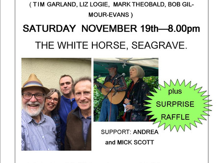 LOOMA at the White Horse, Saturday 19th November, Tim Garland and Friends.